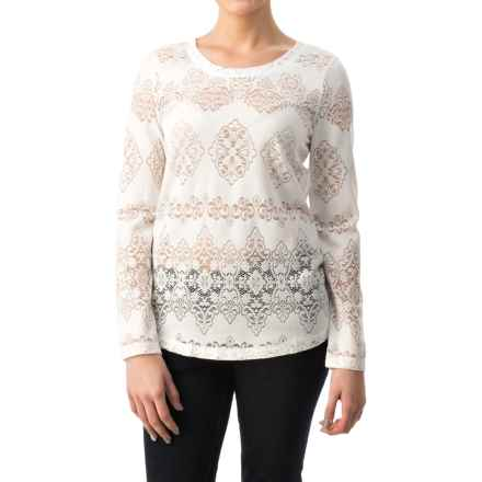dylan Lariat Lace T-Shirt - Long Sleeve (For Women) in Faded White - Closeouts