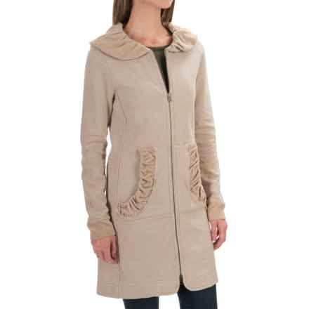 dylan Long Double Zip Jacket with Velvet Rip Trim - Slub Cotton (For Women) in Twig - Closeouts