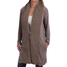 dylan Long Jersey-Knit Cardigan Sweater - Berber Trim (For Women) in Brown - Closeouts