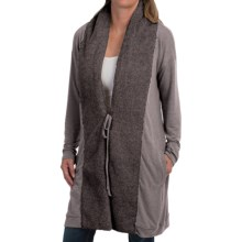 dylan Long Jersey-Knit Cardigan Sweater - Berber Trim (For Women) in Charcoal - Closeouts