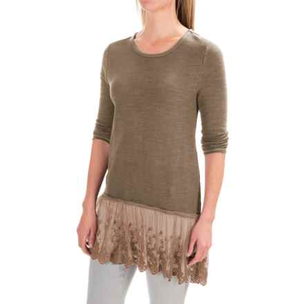 dylan Luxe Lace-Trim Shirt - 3/4 Sleeve (For Women) in Fawn - Closeouts