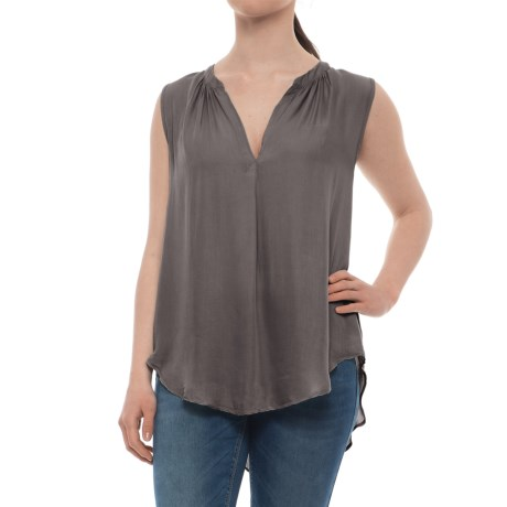 dylan Luxe Long Tunic Tank Top (For Women) in Vintage Grey