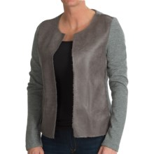 dylan Luxe Shearling Fleece Jacket - Open Front (For Women) in Grey - Closeouts