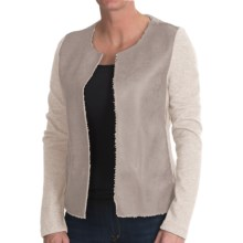 dylan Luxe Shearling Fleece Jacket - Open Front (For Women) in Natural - Closeouts