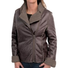 dylan Luxe Shearling Moto Jacket (For Women) in Vintage Black - Closeouts