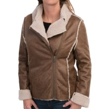 dylan Luxe Shearling Moto Jacket (For Women) in Vintage Brown - Closeouts