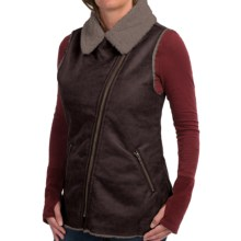 dylan Luxe Shearling Moto Vest (For Women) in Vintage Black - Closeouts