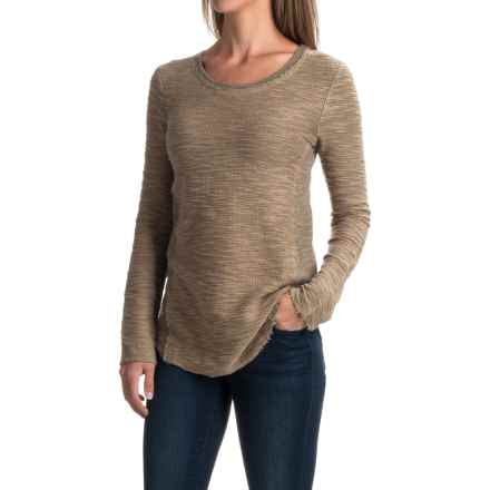 dylan Luxe Slub Reversible Textured Shirt - Crew Neck, Long Sleeve (For Women) in Fawn - Closeouts