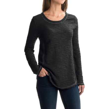 dylan Luxe Slub Reversible Textured Shirt - Crew Neck, Long Sleeve (For Women) in Soft Black - Closeouts