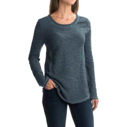 dylan Luxe Slub Reversible Textured Shirt - Crew Neck, Long Sleeve (For Women) in Vintage Navy - Closeouts