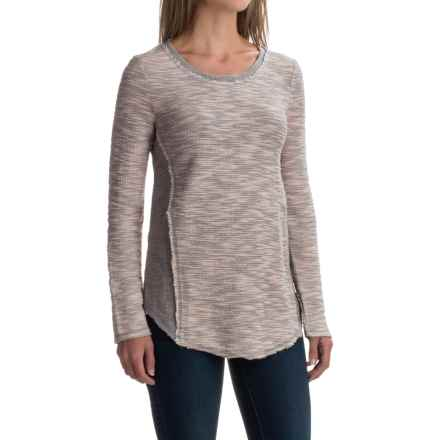 dylan Luxe Slub Reversible Textured Shirt - Crew Neck, Long Sleeve (For Women) in Vintage Pink - Closeouts