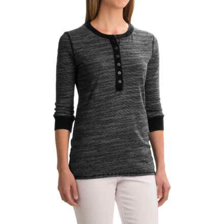 dylan Micro-Slub Stripe Vintage Henley Shirt - 3/4 Sleeve (For Women) in Black - Closeouts