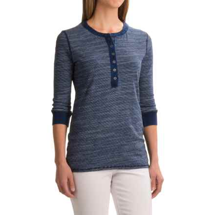 dylan Micro-Slub Stripe Vintage Henley Shirt - 3/4 Sleeve (For Women) in Denim - Closeouts