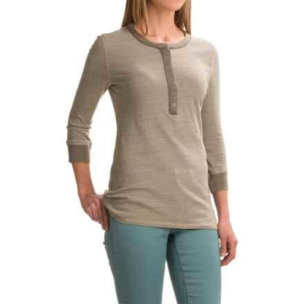dylan Micro-Slub Stripe Vintage Henley Shirt - 3/4 Sleeve (For Women) in Khaki - Closeouts