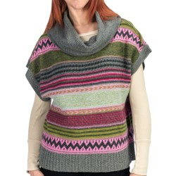 dylan Modern Vintage Aztec Poncho Sweater - Cowl Neck, Short Sleeve (For Women) in Multi