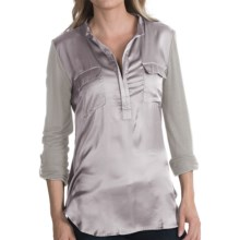 dylan Muted Satin Shirt - Split Neck, Long Sleeve (For Women) in Heather - Closeouts