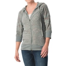 dylan Navajo French Terry Hoodie - Zip Front, 3/4 Sleeve (For Women) in Chambray - Closeouts