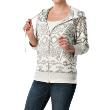 dylan Navajo French Terry Hoodie - Zip Front, 3/4 Sleeve (For Women) in Perfect White - Closeouts