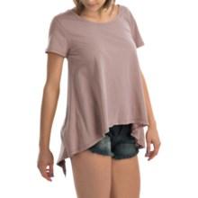 dylan Open Back Ruffle Shirt - Organic Cotton, Short Sleeve (For Women) in Ice Grey - Closeouts