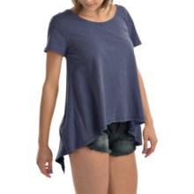dylan Open Back Ruffle Shirt - Organic Cotton, Short Sleeve (For Women) in Indigo - Closeouts