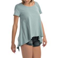dylan Open Back Ruffle Shirt - Organic Cotton, Short Sleeve (For Women) in Pool - Closeouts