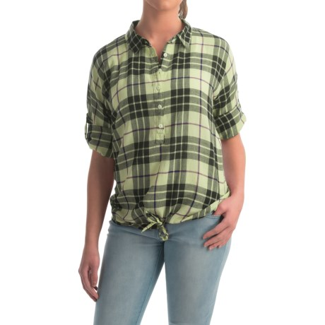 dylan Outpost Plaid Blouse Roll Up 3/4 Sleeve (For Women)