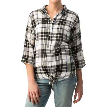dylan Outpost Plaid Blouse - Roll-Up 3/4 Sleeve (For Women) in White - Closeouts