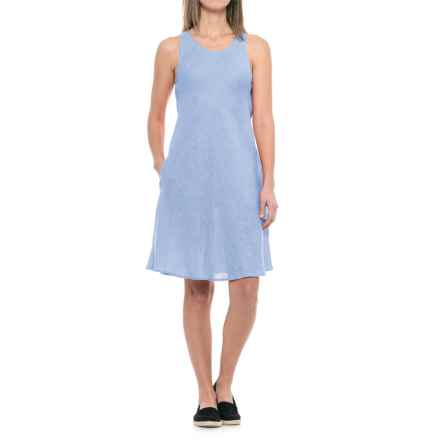 dylan Pad Printed Linen Bias Dress - Sleeveless in Chambray - Closeouts