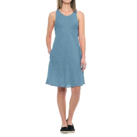 dylan Pad Printed Linen Bias Dress - Sleeveless in Indigo