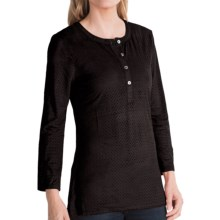 dylan Perforated Henley Shirt - Long Sleeve (For Women) in Black - Closeouts