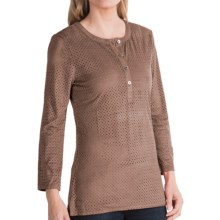 dylan Perforated Henley Shirt - Long Sleeve (For Women) in Brown - Closeouts