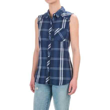 dylan Plaid Flannel Shirt - Sleeveless (For Women) in Indigo - Closeouts