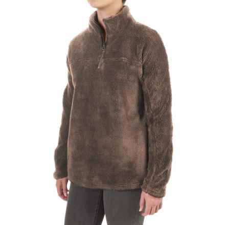 dylan Plush Pebble Fleece Shirt - Zip Neck (For Women) in Cocoa - Closeouts
