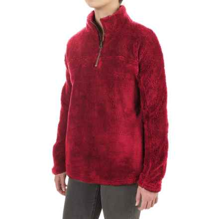dylan Plush Pebble Fleece Shirt - Zip Neck (For Women) in Vintage Red - Closeouts