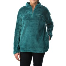 dylan Plush Pebble Pullover Sweater - Fleece, Zip Neck (For Women) in Aqua - Closeouts