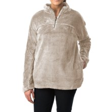 dylan Plush Pebble Pullover Sweater - Fleece, Zip Neck (For Women) in Ivory - Closeouts