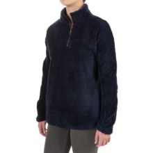 dylan Plush Pebble Pullover Sweater - Fleece, Zip Neck (For Women) in Navy - Closeouts