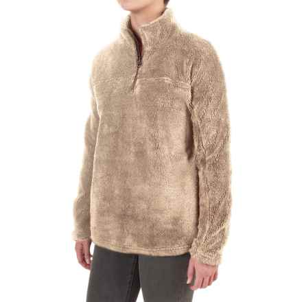 dylan Plush Pebble Pullover Sweater - Fleece, Zip Neck (For Women) in Sand - Closeouts
