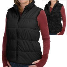 dylan Puffer Reversible Vest - Faux Fur, Insulated (For Women) in Black - Closeouts