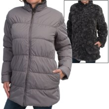dylan Reversible Puffer Coat - Faux Fur, Insulated (For Women) in Charcoal - Closeouts