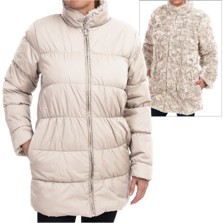 dylan Reversible Puffer Coat Faux Fur Insulated For Women