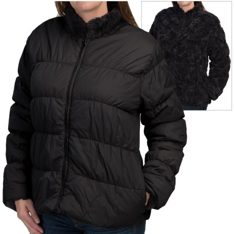 dylan Reversible Puffer Jacket Faux Fur Insulated For Women