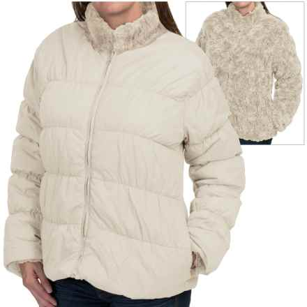 dylan Reversible Puffer Jacket - Faux Fur, Insulated (For Women) in Vintage White - Closeouts