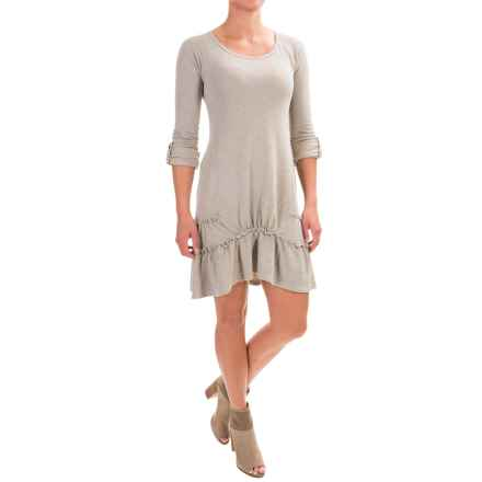 dylan Ribbed Ruffle Dress - Long Sleeve (For Women) in Chino - Closeouts