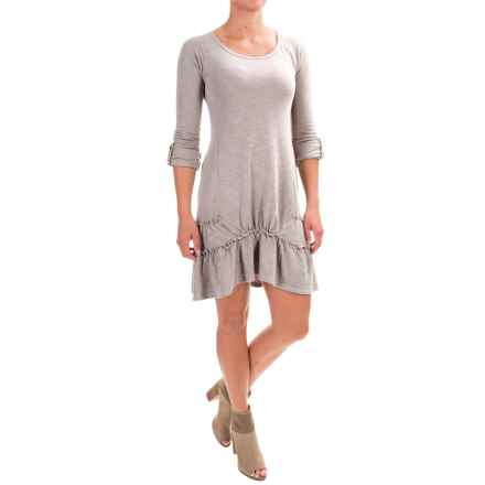 dylan Ribbed Ruffle Dress - Long Sleeve (For Women) in Heather - Closeouts