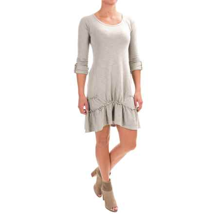 dylan Ribbed Ruffle Dress - Long Sleeve (For Women) in Pale Sky - Closeouts