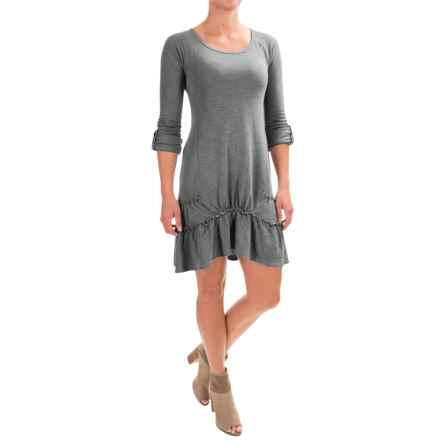 dylan Ribbed Ruffle Dress - Long Sleeve (For Women) in Vintage Blue - Closeouts