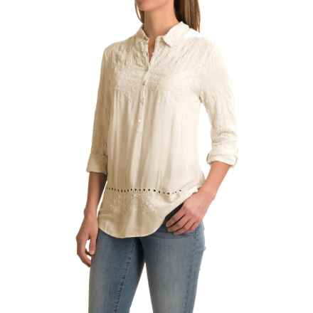 dylan Romantic Embroidered Tunic Shirt - Rayon, Long Sleeve (For Women) in Chalk - Closeouts