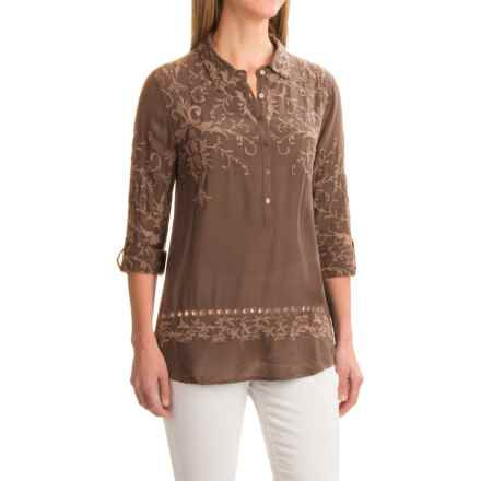 dylan Romantic Embroidered Tunic Shirt - Rayon, Long Sleeve (For Women) in Fawn - Closeouts