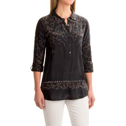 dylan Romantic Embroidered Tunic Shirt - Rayon, Long Sleeve (For Women) in Soft Black - Closeouts